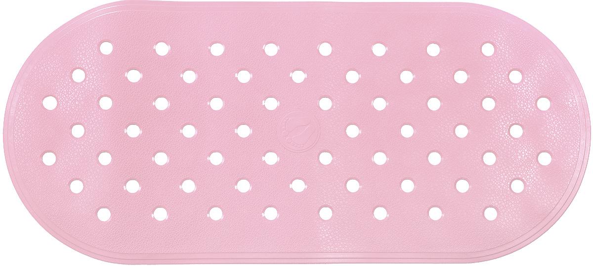 Коврик для ванной Ridder Action, противоскользящий, на присосках, цвет: светло-розовый, 36 х 80 см babyono коврик противоскользящий для ванной цвет голубой 70 х 35 см