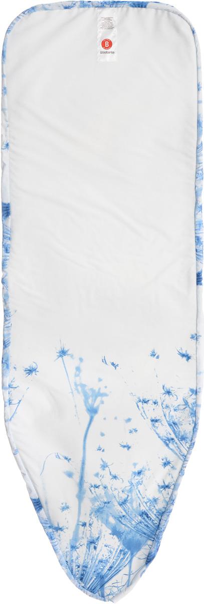 Чехол для гладильной доски Brabantia Perfect Fit. Цветок хлопка, 8 мм, 124 х 38 см. 2665006265006_голубой одуванчикИдеальная поверхность для глажения и отпаривания. Плавное скольжение утюга – верхний чехол из 100% хлопка. Удобное глажение – упругая подкладка (4 мм поролона + 4 мм фетра). Удобная фиксация на доске и отличное натяжение чехла – затягивающий шнур и стяжки. Цветовая маркировка позволяет быстро и точно подобрать нужный чехол.