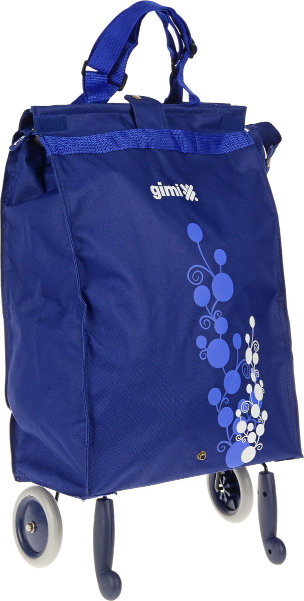 Сумка-тележка Gimi Bella, цвет: синий, 38 л1505460010001Хозяйственная сумка-тележка Gimi Bella выполнена извысококачественного полиэстера со стальным каркасом. Онаоснащена 1 вместительным отделением, закрывающимся спомощью застежки-молнии. Сумка водоустойчива, оснащена 2колесами, обеспечивающими удобство транспортировки. Длякомпактного хранения сумку можно сложить. Максимальная нагрузка: 15 кг.