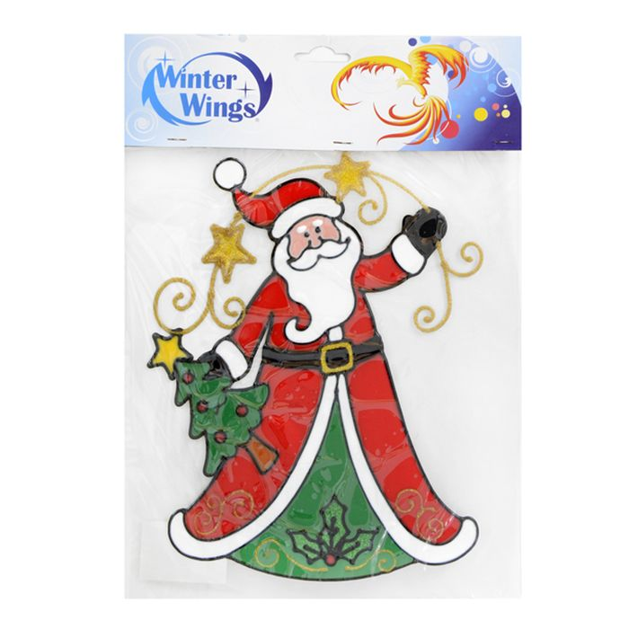 Наклейка-панно декоративная Winter Wings Санта с елкой, на стекло, 31 х 28 см. N09199N09199Наклейка-панно декоративная на стекло, САНТА С ЕЛКОЙ, гелевая, 1 шт. в пакете, 31х28 см
