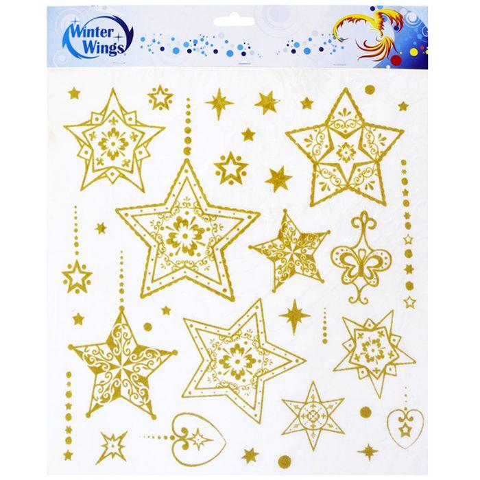 Наклейка-панно декоративная Winter Wings Звезды, 31 х 32 см. N09232N09232Декоративные наклейки Winter Wings с блестящей крошкой, светящиеся в темноте, - креативный и недорогой способ украсить интерьер дома к Новому году. Декор наполнит комнату радостным и веселым настроением и создаст волшебную атмосферу праздника.
