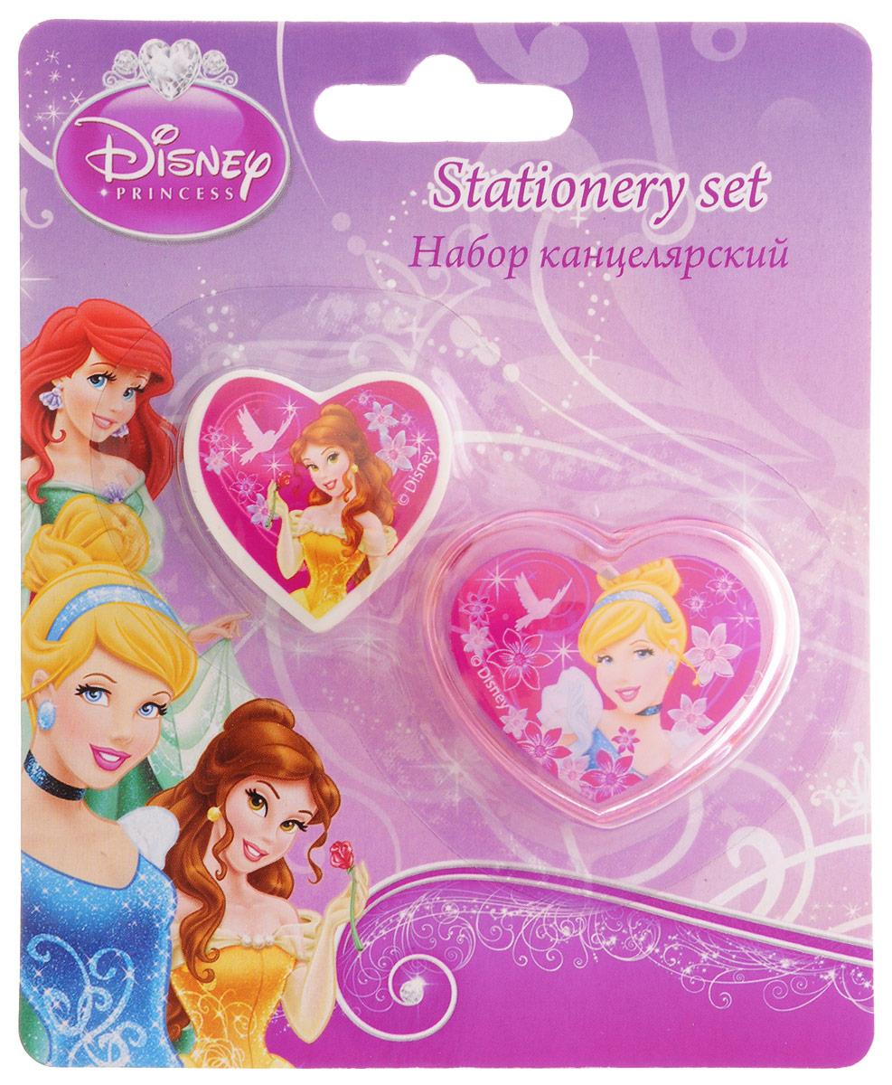 Disney Princess Канцелярский набор 2 предметаPRBB-US1-220-BLКанцелярский набор Disney Princess станет незаменимым атрибутом в учебе маленькой школьницы.Он включает в себя 2 предмета - ластик в форме сердечка с изображением принцессы Белль и точилку в форме сердечка с изображением Золушки.