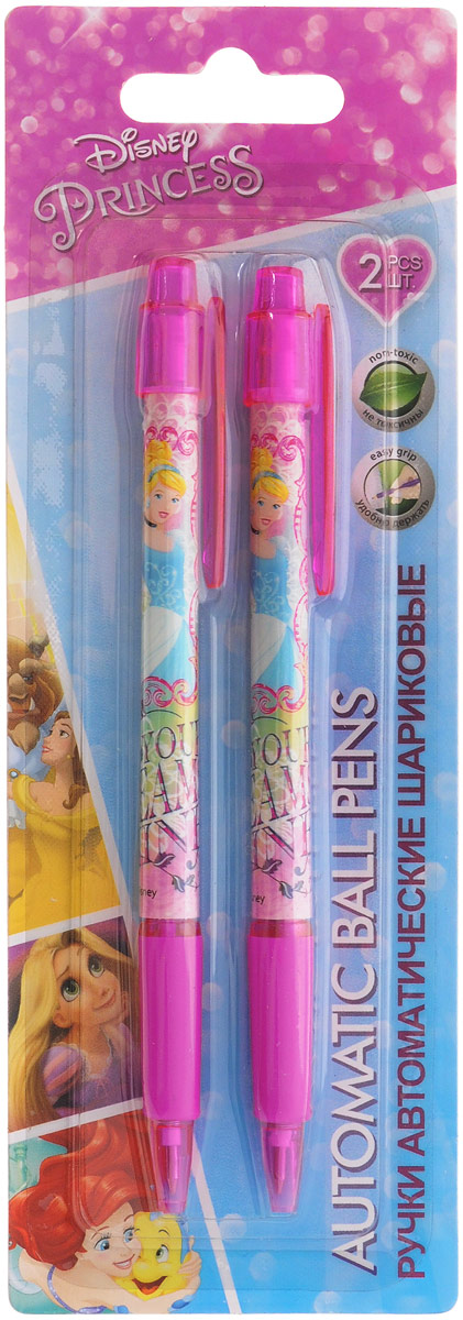 Disney Princess Набор шариковых ручек цвет чернил синий 2 штPRDB-US1-116-BL2Автоматические шариковые ручки Disney Princess станут незаменимым атрибутом в учебе любой школьницы. Каждая ручка снабжена резиновым упором для пальцев, который обеспечивает комфортное письмо. Подача стержня производится путем нажатия на кнопку в верхней части ручки. Качественный пишущий узел.В наборе две ручки со стержнями синего цвета.