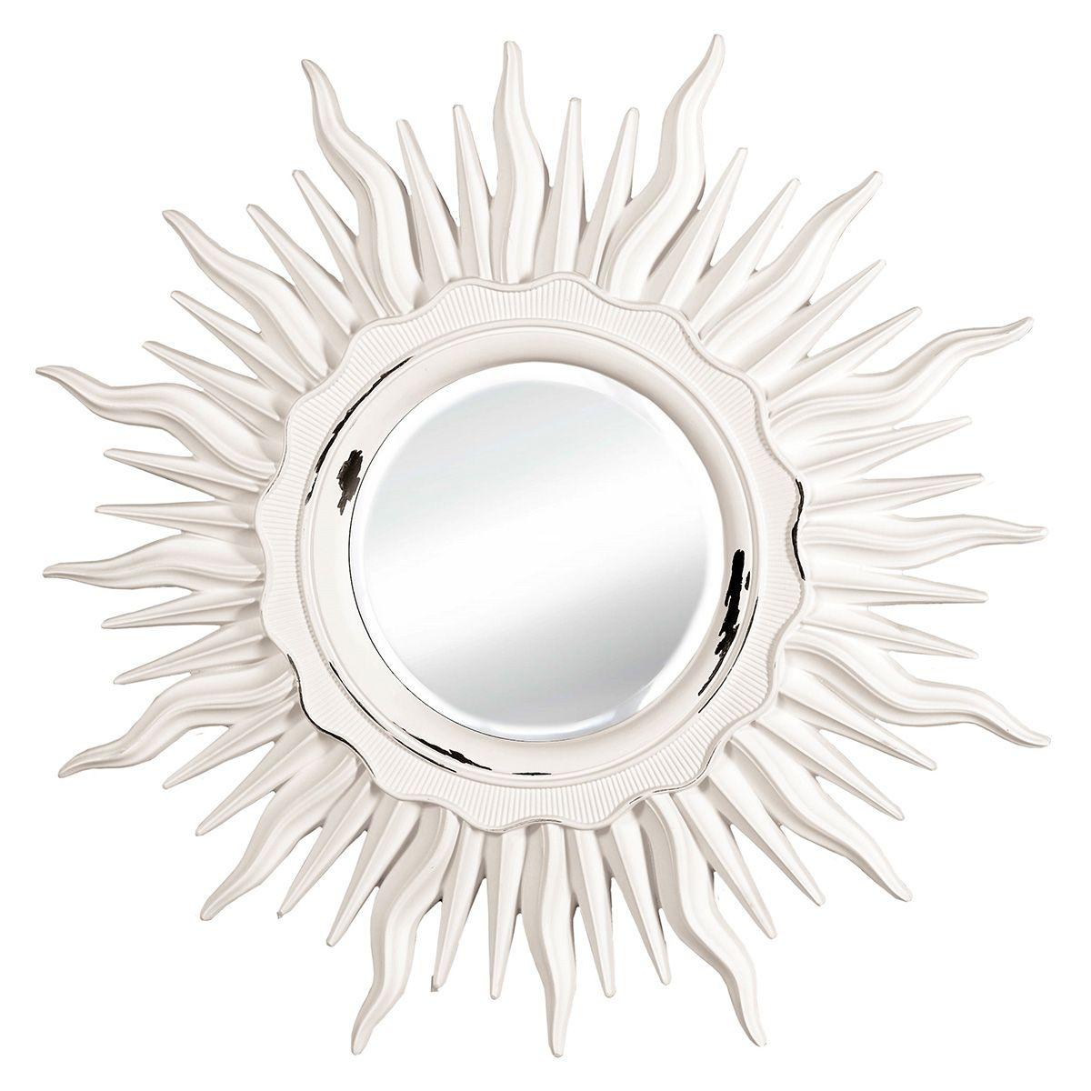 Зеркало настенное VezzoLLi Астро, цвет: белый, диаметр 96 см11-03Настенное зеркало VezzoLLi Астро добавит роскоши в интерьер любогопомещения. Зеркало выкрашено в стиле Шебби Шик - с потертостями. Изделие выполненовручную. Такое зеркало прекрасно подойдет для украшения дома. Диаметр зеркала: 33 см. Диаметр с учетом рамы: 96 см.