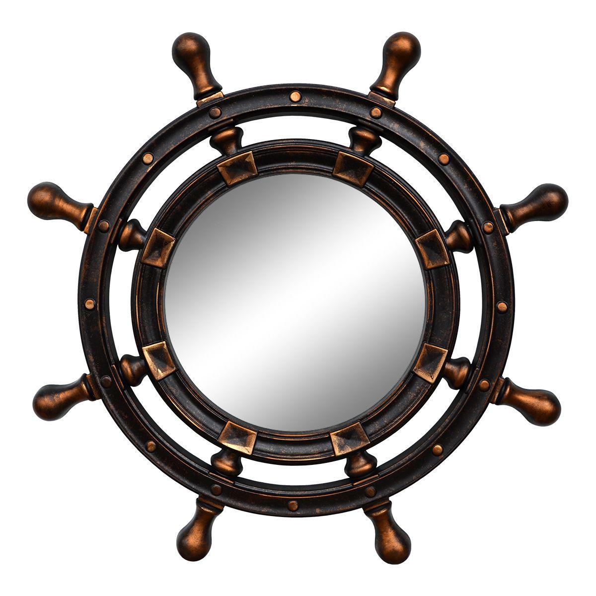 Зеркало VezzoLLi Штурвал, цвет: коричневый, диаметр 90 см3-05