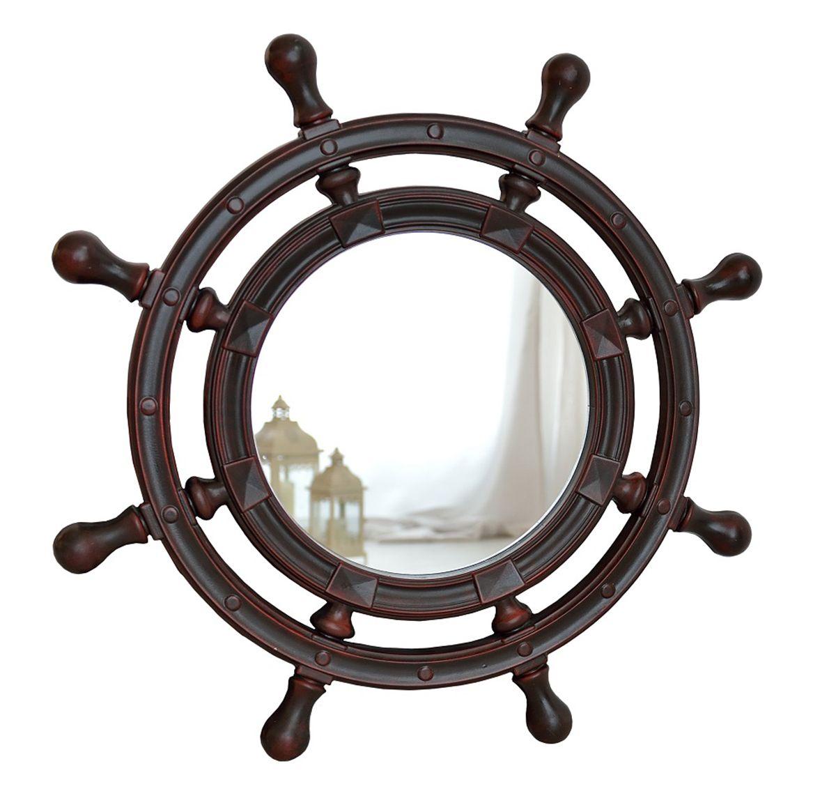 Зеркало VezzoLLi Штурвал, цвет: коричнево-красный, диаметр 90 см3-14