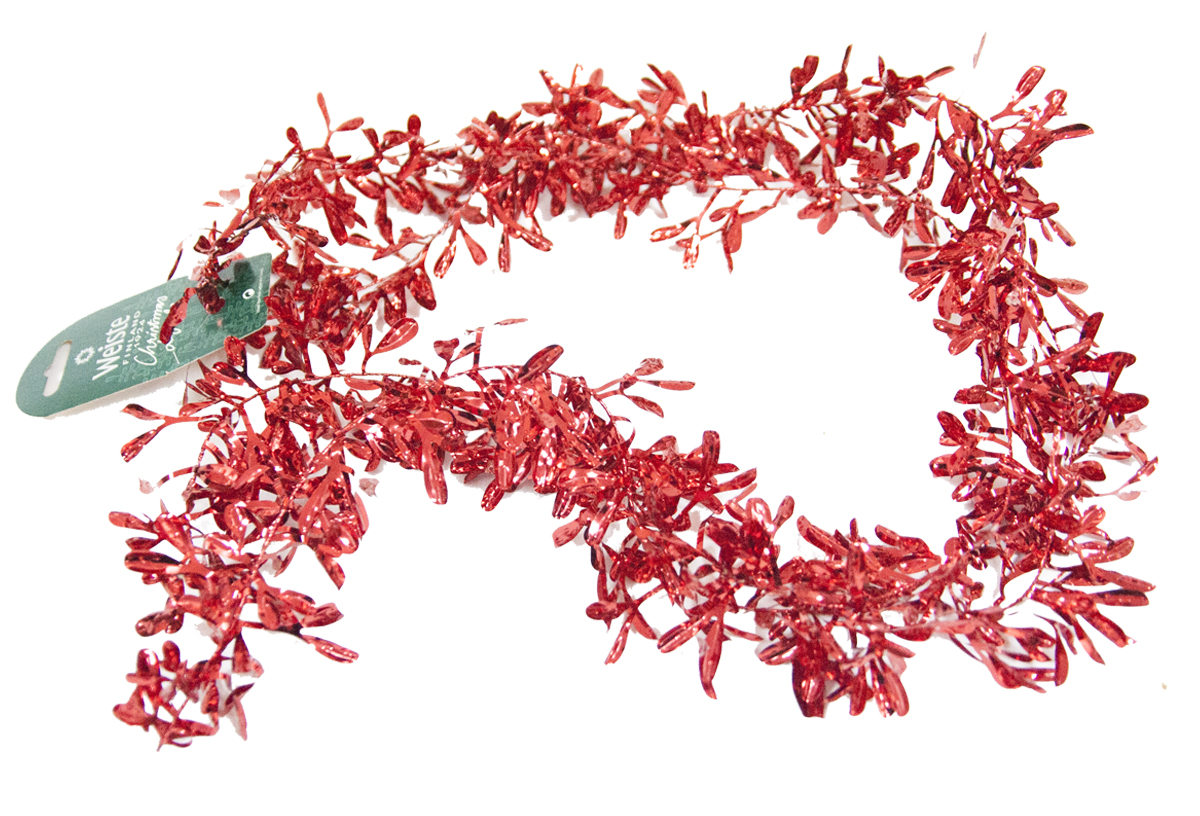 Гирлянда новогодняя Weiste Перо, цвет: красный, длина 2 м6043Гирлянда ПЕРО 10смх2м, цвет красный Weiste