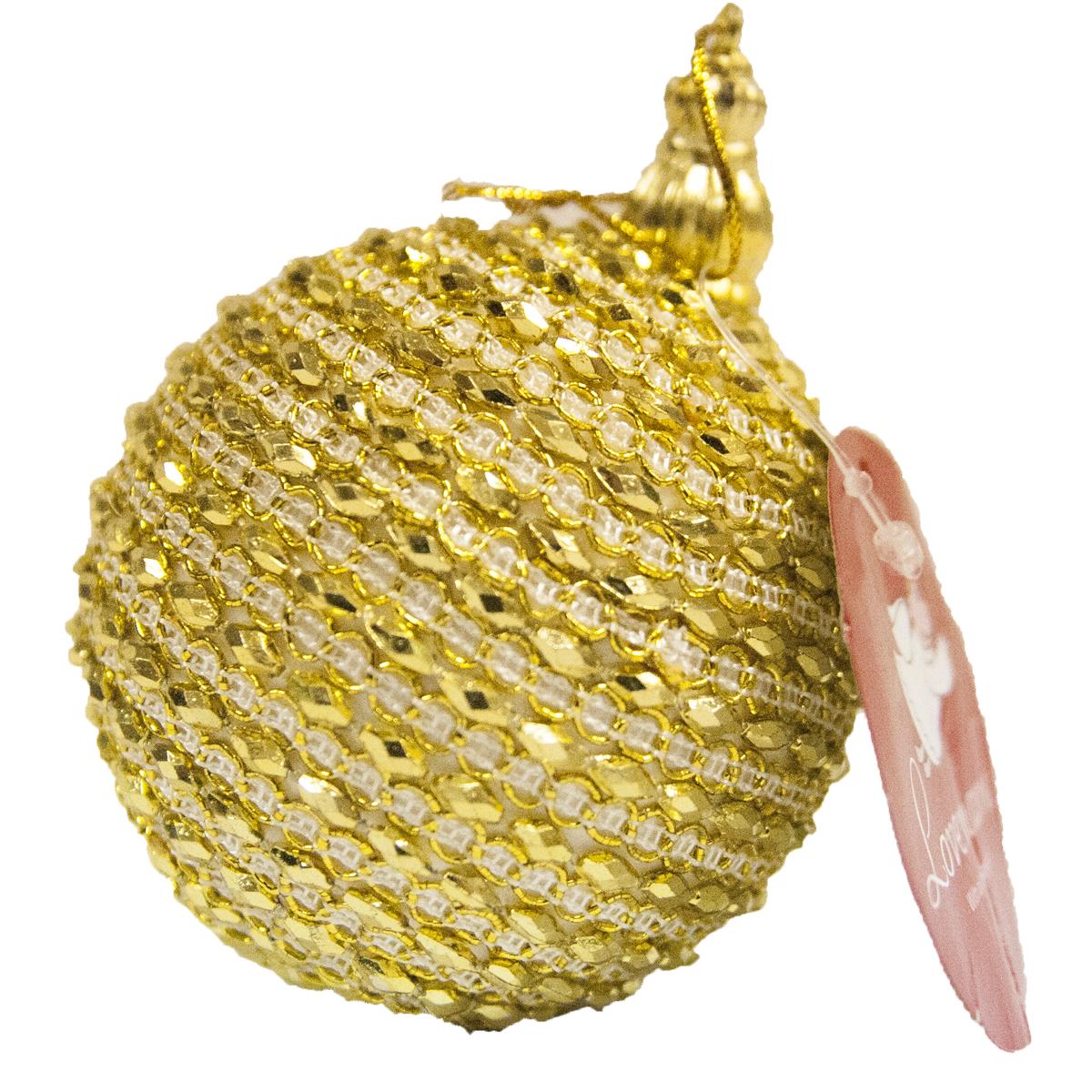 Новогоднее подвесное украшение Lovemark Шар, цвет: золотой, диаметр 8 смHZ23-0442GНовогоднее украшение Lovemark Шар отлично подойдет для декорации вашего дома и новогодней ели. С помощью специальной петельки украшение можно повесить в любом понравившемся вам месте. Но, конечно, удачнее всего оно будет смотреться на праздничной елке.Елочная игрушка - символ Нового года. Она несет в себе волшебство и красоту праздника. Такое украшение создаст в вашем доме атмосферу праздника, веселья и радости.