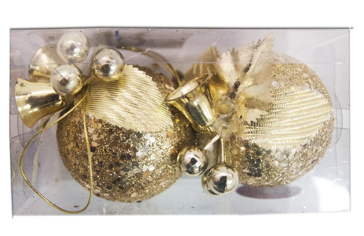 Шары с декором Lovemark Колокольчики, цвет: золотой, 8 см, 2 штHZ34632GШары с декором Колокольчики 2 шт/8см с блёстками, цвет золотой Lovemark