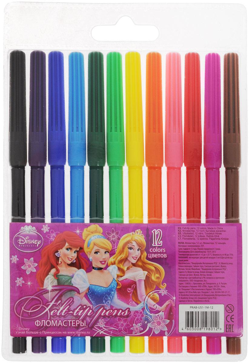 Disney Princess Набор фломастеров 12 цветовPRAB-US1-1M-12Фломастеры Disney Princess, предназначенные для рисования и раскрашивания, помогут вашему малышу создать неповторимые яркие картинки.Набор включает в себя фломастеры 12 ярких насыщенных цветов в разноцветных корпусах (цвет корпуса соответствует цвету чернил). Каждый фломастер оснащен плотным колпачком, надежно защищающим чернила от испарения.Фломастеры упакованы в пластиковый футляр, оснащенный европодвесом.Фломастеры Disney Princess - идеальный инструмент для самовыражения и развития маленького художника!
