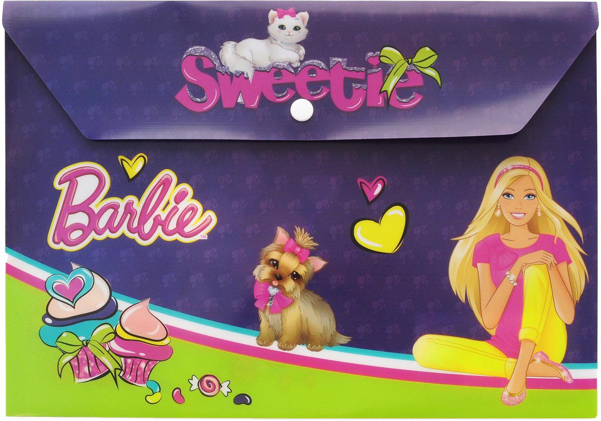 Barbie Папка-конверт Sweetie на кнопке цвет фиолетовыйBRCB-US1-PLB-EN15Папка-конверт на кнопке Barbie Sweetie - это удобный и функциональный школьный инструмент, предназначенный для хранения и транспортировки рабочих бумаг и документов формата А4.Папка изготовлена из прочного полипропилена, закрывается клапаном на кнопку.Папка-конверт - это незаменимый атрибут для студента, школьника, офисного работника. Такая папка надежно сохранит ваши документы и сбережет их от повреждений, пыли и влаги.