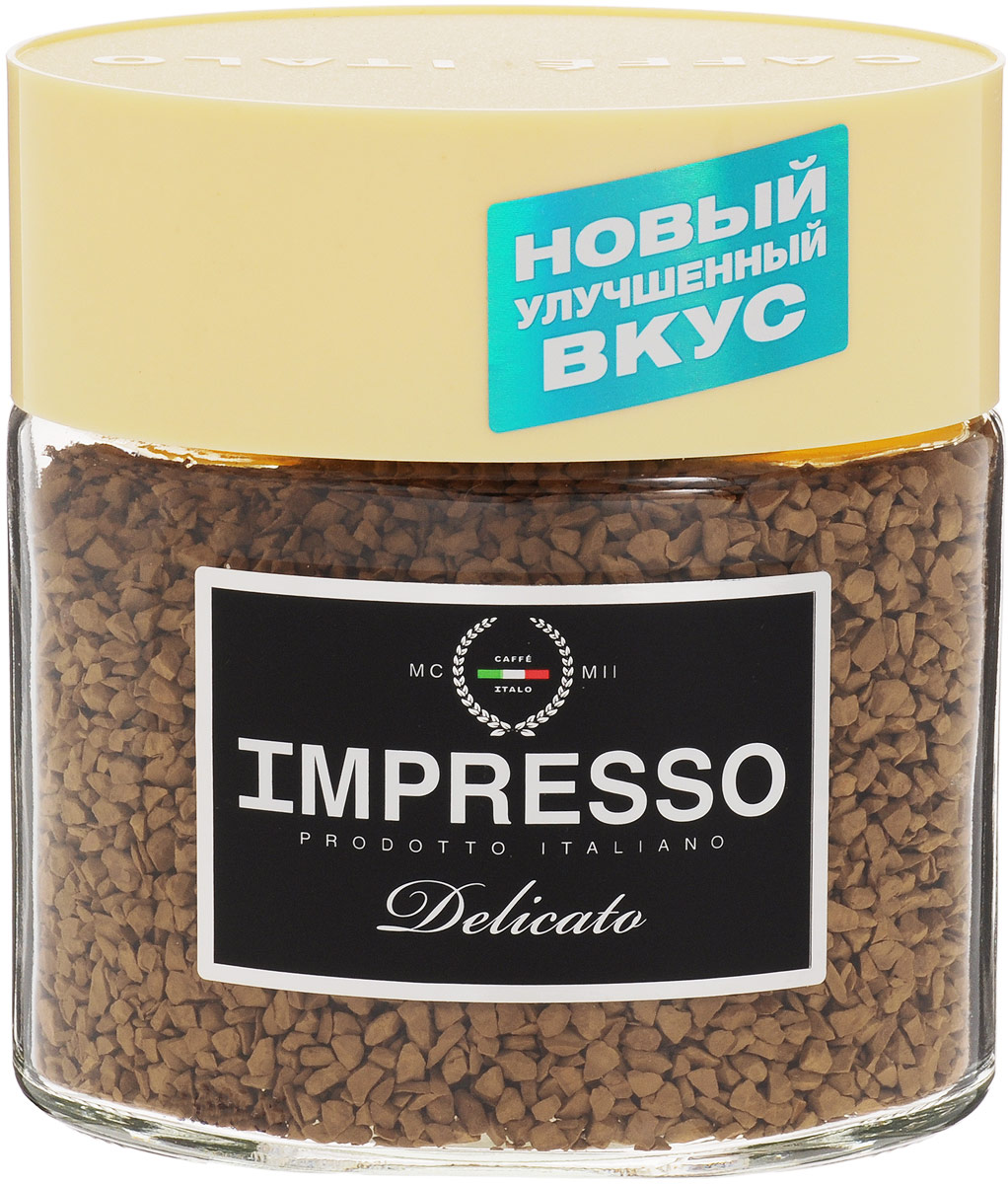 Impresso Delicato кофе растворимый, 100 г (банка)8057288870025Impresso Delicato - настоящий итальянский кофе, который восхищает полнотой вкуса и быстротой приготовления.В купаж кофе вошли сорта арабики из Бразилии и Ямайки с деликатным насыщенным вкусом.Уважаемые клиенты! Обращаем ваше внимание на то, что упаковка может иметь несколько видов дизайна. Поставка осуществляется в зависимости от наличия на складе.