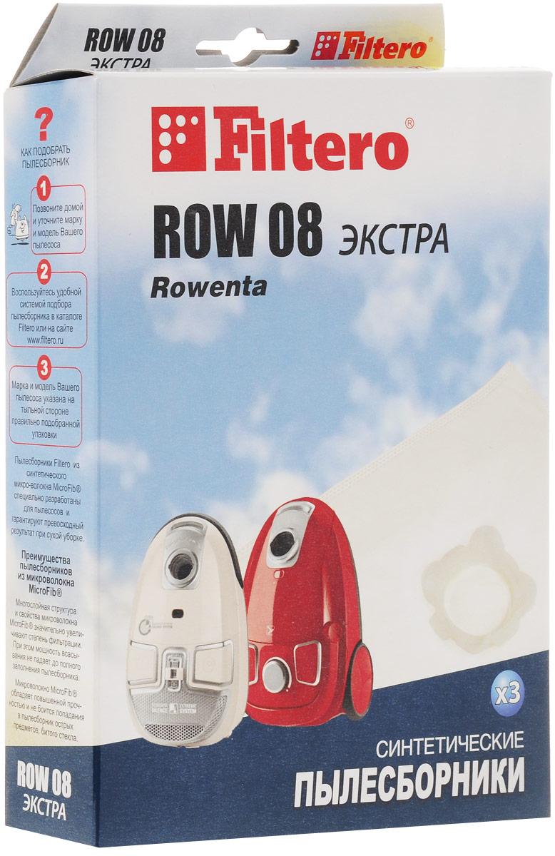 Filtero ROW 08 Экстра мешок-пылесборник 3 штROW 08 ЭкстраМешки - пылесборники Filtero ROW 08 Экстра произведены из пятислойного синтетического микроволокна MicroFib. Они очень прочные, не боятся острых предметов и влаги, собирают до 50% больше пыли, чем бумажные. Обеспечивают уровень очистки воздуха НЕРА и сохраняют мощность всасывания в течение всего периода службы пылесборника.Антибактериальная пропитка Anti-Bac защищает от аллергенов и угнетает размножение бактерий в мешке. Рекомендуются для семей с детьми, людей, страдающих аллергией и заболеваниями дыхательных путей.