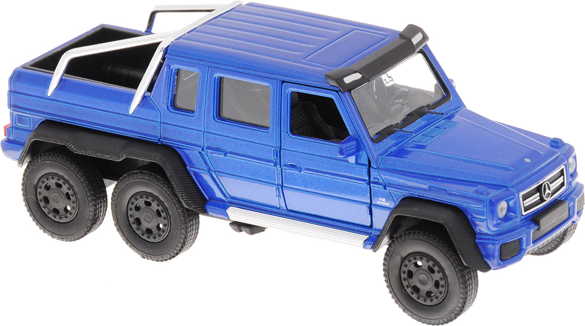 Welly Модель автомобиля Mercedes-Benz G63 AMG 6x6 цвет синий welly модель автомобиля mercedes benz g63 amg 6x6 масштаб 1 24 цвет бежевый