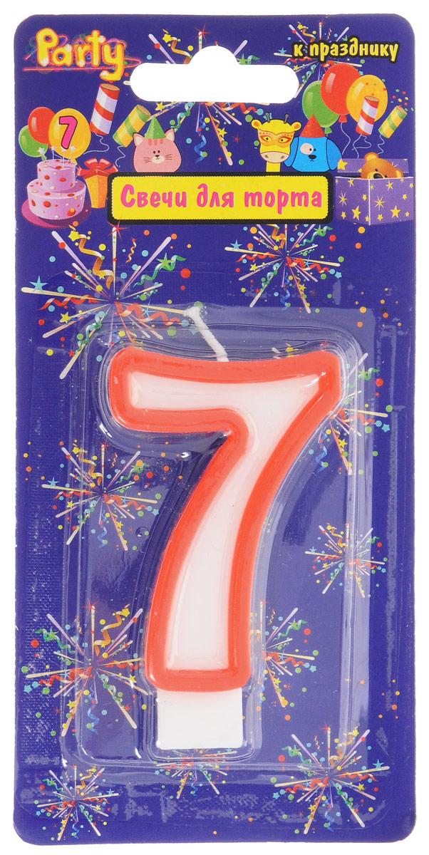 Action! Свеча-цифра для торта 7 лет цвет красный