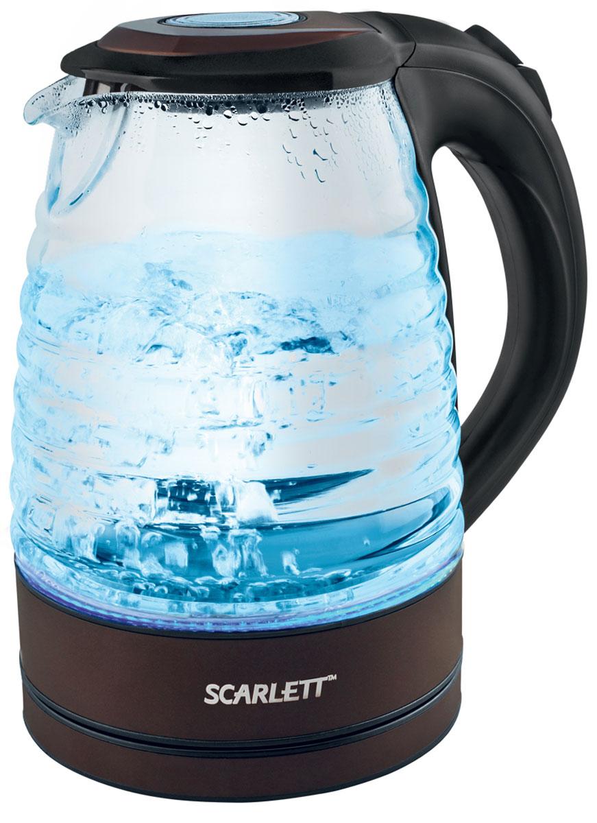 Scarlett SC-EK27G97, Chocolate чайникSC-EK27G97Чайник электрический Scarlett SC-EK27G97 изготовлен из термостойкого стекла. Внутри прибора находится скрытый нагревательный элемент. Наличие подсветки делает его привлекательным во время эксплуатации. Подсветка голубого цвета позволяет определять количество жидкости в чайнике в темноте. Данная модель позволит быстро вскипятить до 1,7 литра воды благодаря мощности 2200 Вт.
