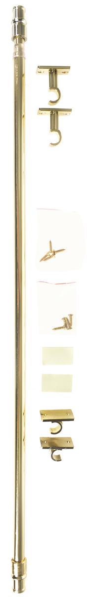Карниз однорядный Эскар Калифорния, металлический, телескопический, цвет: латунь, диаметр 12 мм, длина 55-85 см9080012085Круглый карниз Эскар Калифорния выполнен из металла. Подходит для использования одного вида занавесей. Поверхность гладкая. Крепление производится на раму, при помощи держателей на двухсторонний скотч или саморезы. В комплект входят: карниз, 2 коротких кронштейна, 2 длинных кронштейна, 8 саморезов, 4 полоски двухстороннего скотча.Такой карниз будет органично смотреться в любом интерьере.Диаметр карниза: 12 мм.