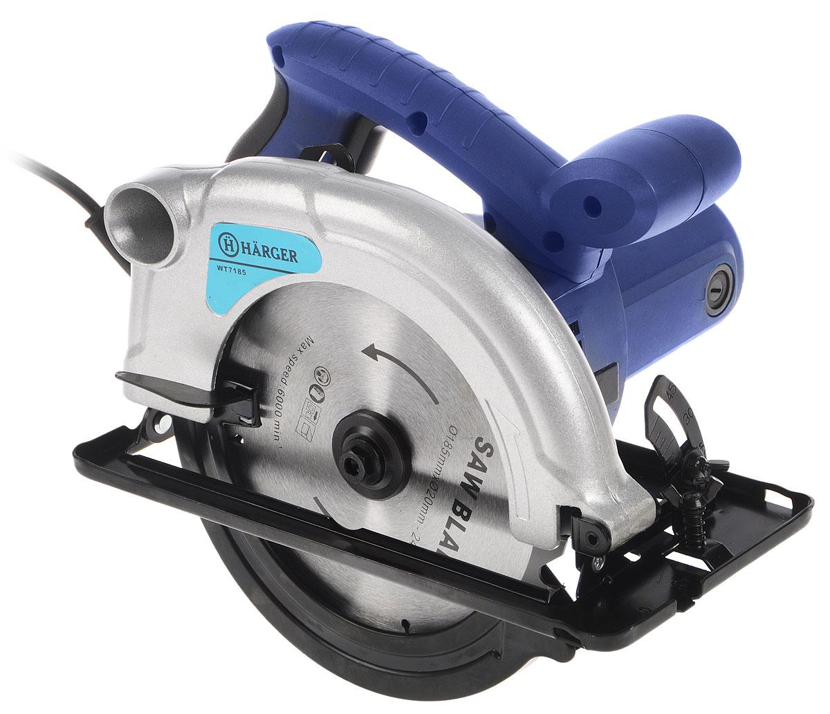 Пила циркулярная Harger WT7185WT7185Ручная циркулярная пила Harger WT7185 - это инструмент с электродвигателем мощностью 1200 Вт. Инструмент предназначен для прямого пиления и под углом до 45 градусов заготовок из различных сортов древесины толщиной до 62,5 мм. Изделие выполнено из прочного пластика и металла.Глубина пропила 90°: 62,5 мм.Глубина пропила 45°: 43,5 мм.