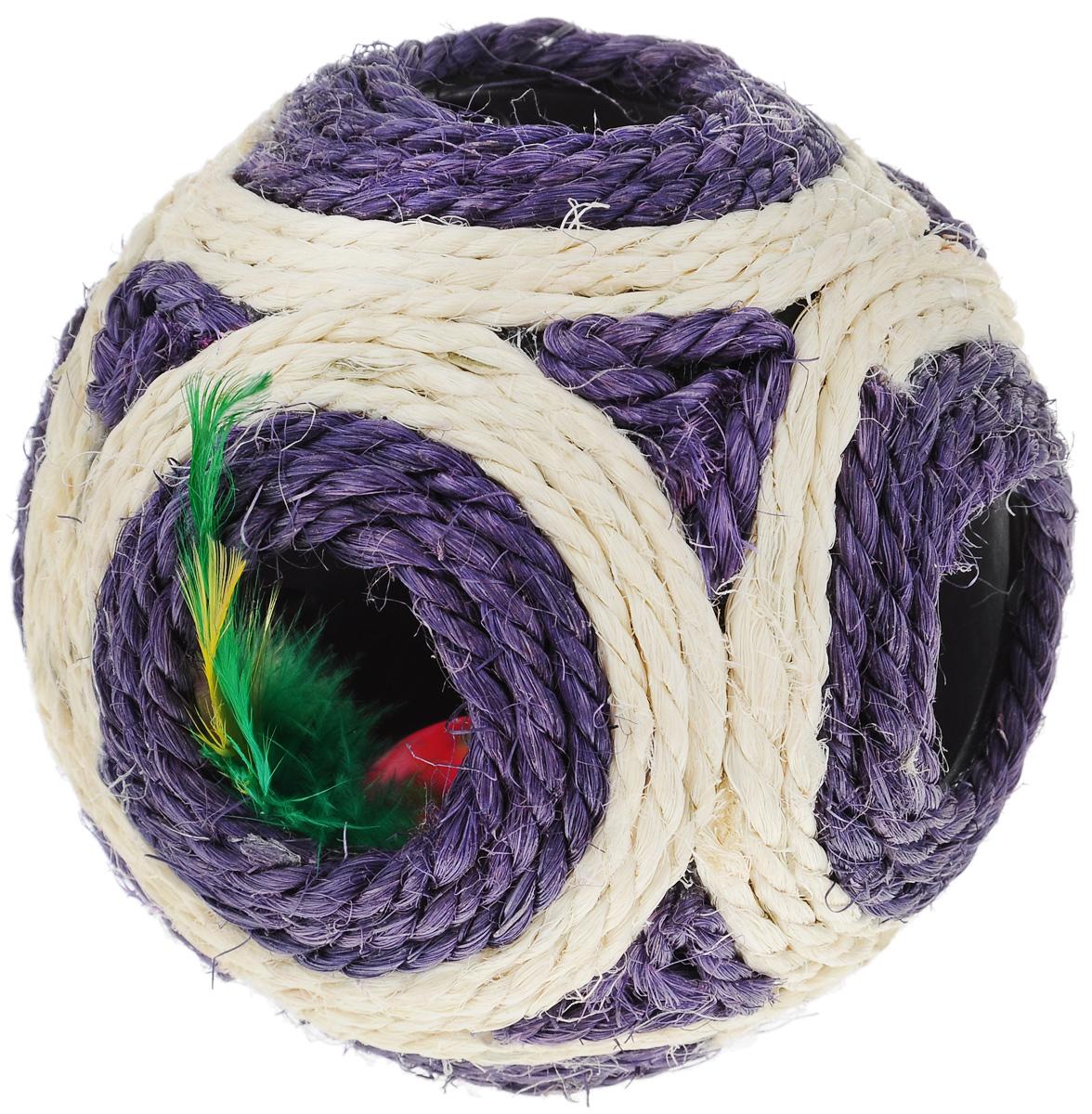 Когтеточка Triol Мяч, цвет: фиолетовый, слоновая кость, диаметр 11,5 см когтеточки joy коврик когтеточка для кошек