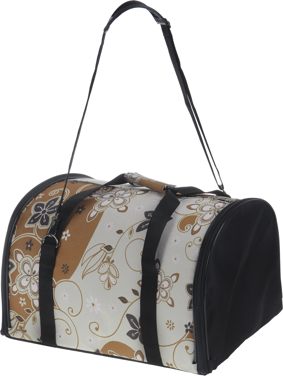 Сумка-переноска для животных ЗооМарк Цветы, цвет: коричневый, черный, бежевый, 41 х 27 х 27 см