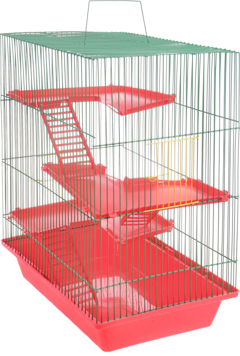 """Фото Клетка для грызунов ЗооМарк """"Гризли"""", 4-этажная, цвет: красный поддон, зеленая решетка, красные этажи, 41 х 30 х 50 см"""