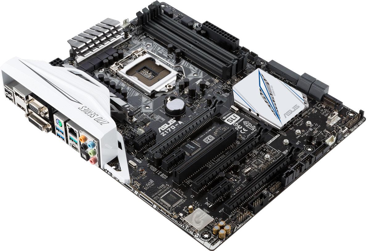 ASUS Z170-A материнская платаZ170-AМатеринская плата Asus Z170-A совместима с процессорами Intel для разъема LGA1151, которые включают в себя интегрированное графическое ядро и контроллеры памяти и шины PCI Express с поддержкой двухканальной DDR4 SDRAM и 16 линий PCI Express 3.0/2.0.Intel Z170 Express – это новейший чипсет, оптимизированный для работы с процессорами Intel серий Core i7, Core i5, Core i3, Pentium и Celeron, вставляемыми в разъем LGA1151. Он отличается высокой стабильностью, производительностью и пропускной способностью. Z170 поддерживает до десяти портов USB 3.0, шесть портов SATA 6 Гбит/с и интерфейс M.2 (32 Гбит/с), а также позволяет использовать графическое ядро, встроенное в современные процессоры Intel.Найти оптимальные настройки компьютера стало предельно просто – достаточно воспользоваться функцией 5-сторонней оптимизации от Asus! С ее помощью можно легко получить максимальную производительность процессора или максимальную экономию электроэнергии, задать стабильные настройки цифровой системы питания, отрегулировать скорость работы вентиляторов и даже сконфигурировать сетевой контроллер и аудиосистему. Иными словами, с помощью этой функции вы легко можете оптимизировать свой компьютер под конкретные приложения, которые используете чаще всего.Турбо-процессор TPU служит для управления напряжением и мониторинга при разгоне центрального процессора и видеокарты (поддерживаются не все модели видеокарт). Данная функция активируется с помощью переключателя на самой материнской плате или посредством программного комплекса AI Suite 3.Asus Pro Clock – это специальный генератор тактовой частоты, позволяющий задавать базовую частоту работы для процессоров Intel Core шестого поколения на уровне 400 МГц и выше. Дополняя уже знакомый пользователям TPU-чип, он позволяет добиться более высоких результатов при разгоне компьютера.Благодаря оригинальной Т-образной топологии подключения слотов системной памяти DDR4 увеличивается ее разгонный потенциал. Именно это по