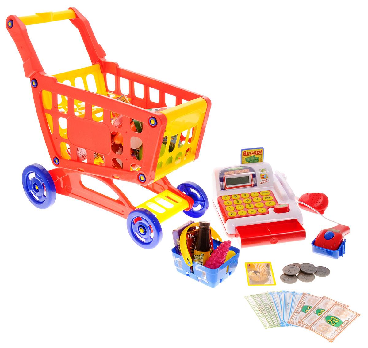 Boley Игрушечный набор Продуктовая тележка с кассой и набором продуктов аксессуары для кукол boley игрушка boley корона серия холодное сердце