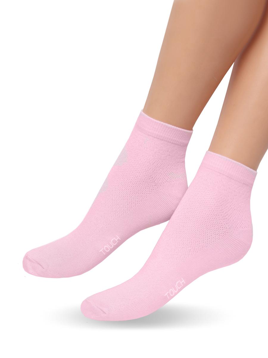 Носки женские Touch Gold, цвет: розовый. 263. Размер 23/25263Удобные облегченные женские носочки Touch Gold из лучших сортов длинноволокнистого хлопка с добавлением эластановых волокон. Верхняя часть сплетена сеточкой, что позволяет ножкам дышать. Так же эту модель отличает уплотненный след, носок и пяточка для повышения износостойкости, а так же двойная резинка для лучшей фиксации на ножке. Модель со слегка укороченным паголенком. Вы по достоинству оцените эти легкие и в то же время прочные носочки.