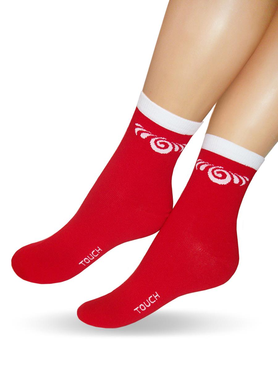 Носки женские Touch Gold, цвет: красный. 275. Размер 23/25275Удобные женские носочки Touch Gold, с узором на паголенке. Изготовлены из лучших сортов длинноволокнистого хлопка с добавлением эластановых волокон, которые обеспечивают износостойкость. Отличаются повышенной гладкостью, эластичностью и воздухопроницаемостью. Снабжены двойной резинокой, что обеспечивает превосходную посадку.