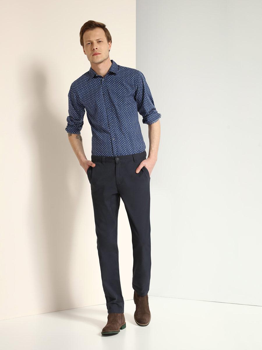 Брюки мужские Top Secret, цвет: темно-синий. SSP2397GR. Размер 32 (48)SSP2397GRСтильные мужские брюки Top Secret выполнены из натурального хлопка. Брюки-слим стандартной посадки застегиваются на пуговицу в поясе и ширинку на застежке-молнии. Модель имеет шлевки для ремня. Спереди модель оформлена двумя втачными карманами, а сзади - двумя прорезными карманами на пуговицах.