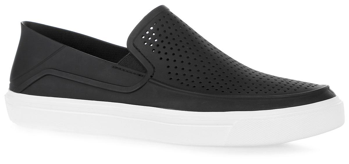 Слипоны мужские Crocs CitiLane Roka Slip-on M, цвет: черный. 202363-066. Размер 8 (41)202363-066Модные слипоны CitiLane Roka Slip-on от Crocs заинтересуют вас своим дизайном с первого взгляда! Модель, изготовленная из термопластичного полиуретана, сбоку и спереди оформлена перфорацией, которая обеспечивает естественную вентиляцию. Эластичные вставки по бокам гарантируют идеальную посадку модели на ноге. Подошва из полимера Croslite очень легкая и гибкая. Рельефная поверхность верхней части подошвы комфортна при движении. Рифление на основании подошвы гарантирует идеальное сцепление с поверхностью. Стильные слипоны займут достойное место в вашем гардеробе.