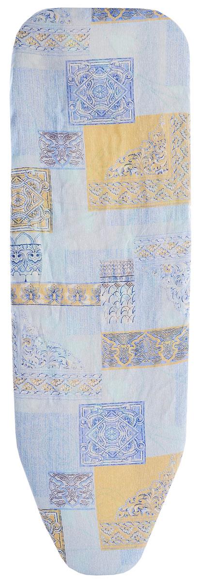 Чехол для гладильной доски Eva, цвет: голубой, бежевый, белый, 119 х 37 см чехол для рукава гладильной доски leifheit цвет голубой 52 х 12 см