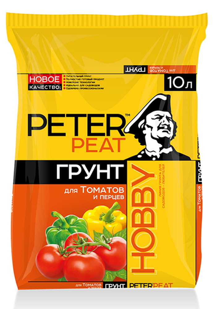 Грунт Peter Peat Для томатов и перцев, 10 лХ-05-10Питательный грунт Peter Peat Для томатов и перцев предназначен для выращивания томатов, перцев, баклажанов и их подкормки в период роста и плодоношения. Улучшает всхожесть семян и приживаемость рассады.