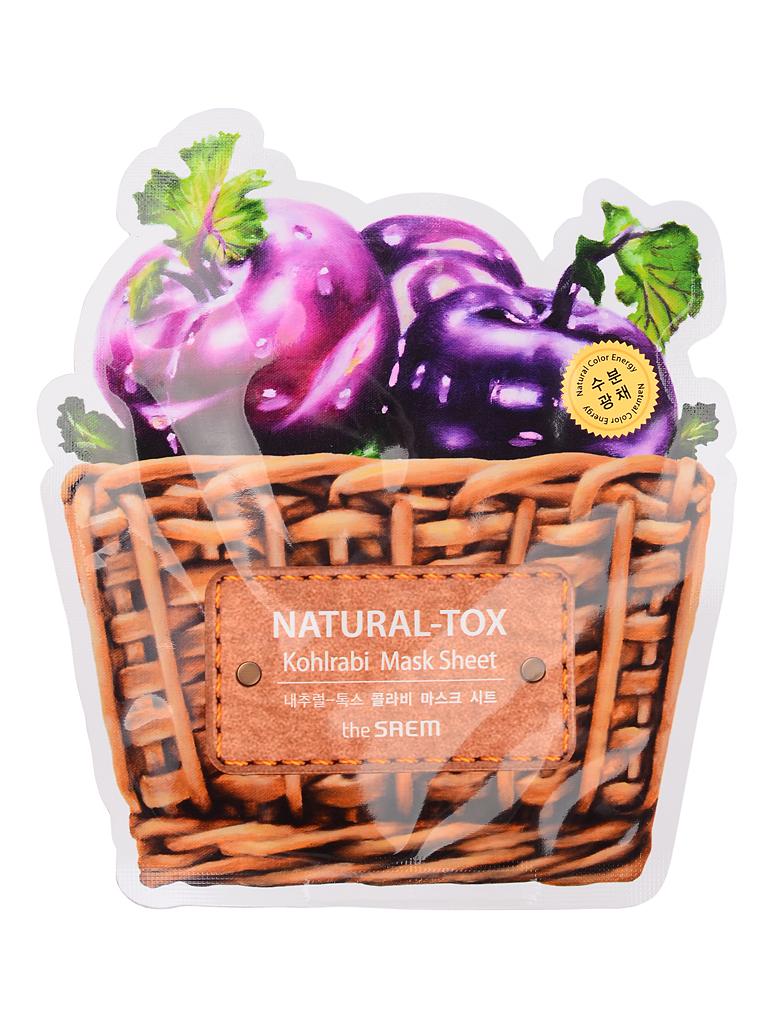 The Saem Маска тканевая кольраби Natural-tox Kohlrabi Mask Sheet, 20 грСМ2127Тканевая маска содержит экстракт кольраби (10000 ppm). Кольраби, богатая витаминами, белками, углеводами, серосодержащими веществами, минеральными солями, клетчаткой, эффективно питает и увлажняет кожу лица. Большое количество витамина С интенсивно стимулирует процессы обновления и омоложения в коже: выравнивает цвет лица, усиливает синтез коллагена, повышает защитные функции, оказывает мощное антиоксидантное воздействие. В результате кожа приобретает здоровый и притягательный сияющий вид.