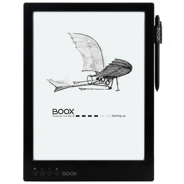Onyx Boox Max, Black электронная книгаONYX MAX BlackOnyx Boox Max — это первое устройство Onyx с E-Ink экраном размером 13,3 дюйма. Модель базируется на операционной системе Android и может стать идеальным выбором для тех, кому приходится часто читать учебную или техническую литературу. Большой и комфортный для глаз дисплей, мощный процессор в сочетании с 1 Гб оперативной памяти и сенсорное управление — оптимальные инструменты для чтения файлов в форматах PDF и DjVu. Встроенный модуль Wi-Fi позволяет использовать устройство для полноценного сёрфинга по сети Интернет, а приложение Google Play, предустановленное на устройстве, существенно расширяет его функциональность.Дисплей E-Ink Mobius 13,3 дюйма идеален для просмотра документов, содержащих графики и схемы, а также для любых произвольных документов в формате PDF. Отсутствие мерцающей подсветки и принцип формирования изображения методом электронных чернил делает чтение комфортным для глаз. Сенсорный экран обеспечивает удобное управление при чтении: смещение страницы, выбор участка для увеличения, пометки в тексте и использование дополнительных функций.Процессор Freescale с тактовой частотой частотой 1 ГГц и 1 Гб оперативной памяти обеспечивают комфортную работу с любыми, даже самыми сложными документами. А 16 ГБ энергонезависимой памяти и слот microSD с поддержкой карт памяти до 32 ГБ позволяют хранить до 40000 книг.Программное обеспечение BOOX позволяет открывать файлы множества различных текстовых и графических форматов. При чтении вы можете менять стиль и размер шрифта, расположение страниц и ставить закладки. А также добавлять собственные и произвольно масштабировать документы.В Onyx Boox Max предустановлены англо-русский и русско-английский словари. Для просмотра перевода слова достаточно выбрать его в тексте.Модель имеет предустановленное приложение Google Play, которое даёт доступ к сотням тысяч сторонних программ для Android, в том числе и бесплатных. Данная возможность существенно расширяет функциональност