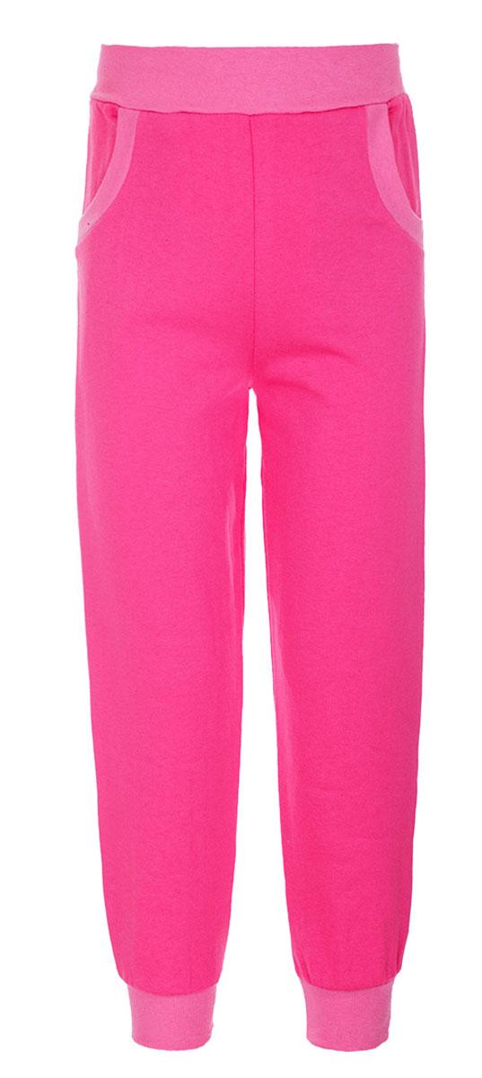 Брюки спортивные для девочки M&D, цвет: розовый. Б1912-5. Размер 74Б1912-5Спортивные брюки для девочки выполнены из натурального хлопка. Брюки на талии имеют широкую эластичную резинку, благодаря чему, они не сдавливают живот ребенка и не сползают. Спереди предусмотрены два втачных кармашка. Низ брючин дополнен эластичными манжетами.