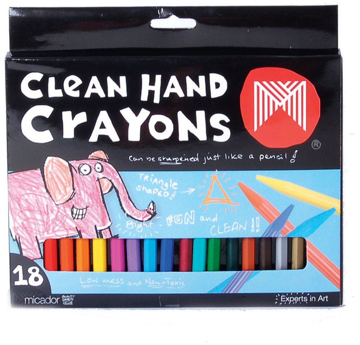 Micador Восковые мелки Чистые ручки 18 цветовCTP1818 ярких безопасных мелков Micador всех цветов радуги для бесконечных часов веселья и радости маленьких художников.Трёхгранные -специально для малышей, чтобы учиться правильно держать.Ручки малыша не испачкаются, ведь мелки изготовлены по запатентованной технологии Чистые ручки. Мелки можно точить как карандаши.Мелки с пониженным выделением пыли, не рассыпаются, легко смываются водой, что обязательно оценят родители. Гипоаллергенные, не содержат токсичных веществ, полностью безопасны для маленьких детей.100% перерабатываемая упаковка.Рисование развивает творческие способности, воображение, логику, память, мышление. 9 Австралийский бренд Micador - эксперт в товарах для детского творчества с 1954 года. Пусть мир вашего ребенка будет ярким и безопасным!