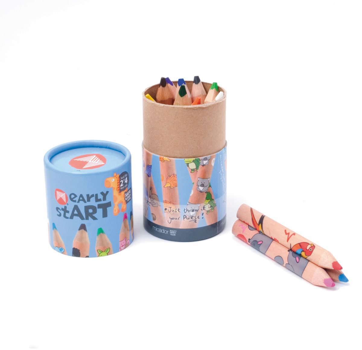 Micador Цветные карандаши 12 цветовESJP12Многообразие ярких и насыщенных цветов, которые не оставят равнодушным ни одного ребенка. Благодаря высокому качеству древесной оболочки, обеспечивается ровное и гладкое затачивание что исключает покупать все новые и новые карандаши. Грифель имеет больший диаметр, чем обычно, что позволит не так часто затачивать карандаши, а так же позволяет намного быстрее и без дополнительных усилий разукрашивать большие рисунки. Карандаши не крошатся при рисовании, не трескаются при падении, легко затачиваются.Очень прочные треугольные карандаши специально для маленьких ручек, чтобы малыши учились правильно держать. Высококачественные пигменты обеспечивают яркость и мягкость письма на любой бумаге. Карандаши упакованы в коробочку цилиндрической формы, в которой их очень удобно брать с собой и рисовать, где захочется.
