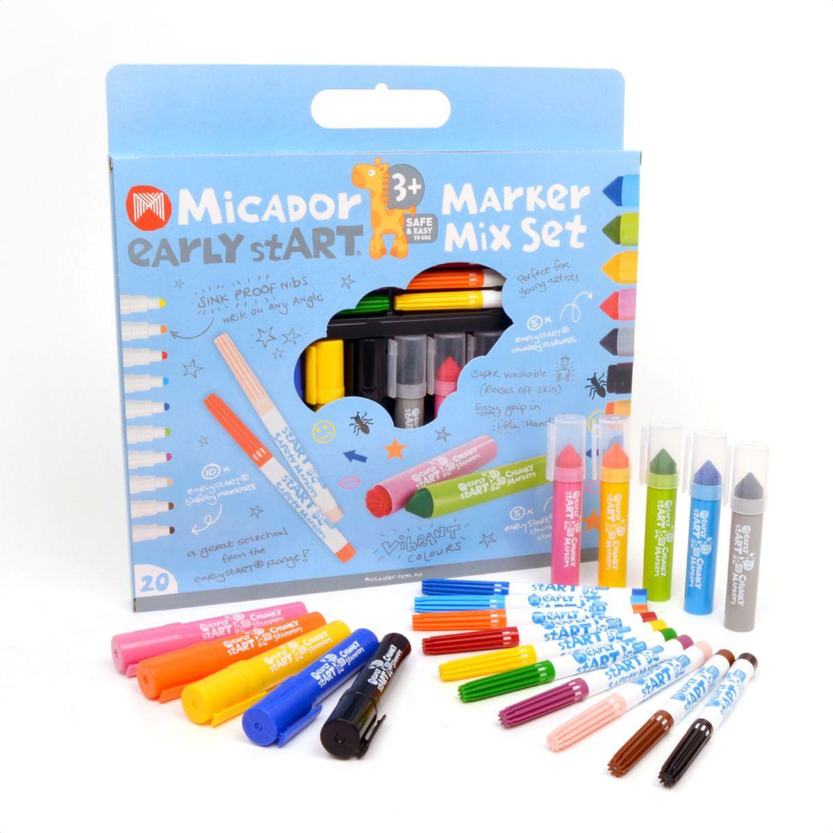 Micador Набор фломастеров и штампиков для малышей 10 предметовM044908Набор для маленьких художников Micador включает в себя 10 фломастеров для малышей с закругленным стержнем, 5 коротких фломастеров с самой удобной формой для маленьких ладошек и 5 забавных штампиков, чтобы дополнить рисунки.Специальный наконечник фломастеров позволяет малышам рисовать под любым углом. Насыщенные цвета остаются яркими на бумаге даже после высыхания чернил.Вентилируемый колпачок предотвращает высыхание чернил. Не высыхают до 8 недель. Сухие фломастеры можно легко восстановить, опустив наконечник в воду. Фломастеры не содержат спирта, растворителей, токсичных веществ, поэтому полностью безопасны для маленьких детей.Следы от фломастеров легко отстирываются от любой поверхности даже в холодной воде. Рисование развивает творческие способности, воображение, логику, память, мышление.