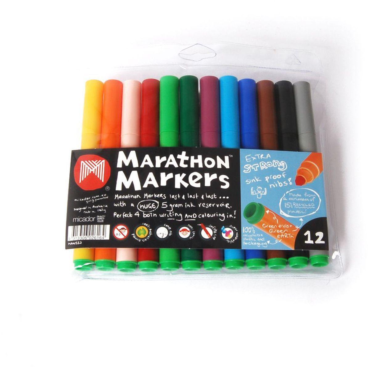Micador Фломастеры 12 цветов MAW112MAW112Фломастеры Micador классических цветов на водной основе оценят не только маленькие художники, но их родители. Фломастеры не содержат спирта, растворителей и токсичных компонентов, поэтому полностью безопасны для маленьких детей.Фломастеры имеют яркие насыщенные цвета, чернила не расплываются на бумаге, что позволяет делать четкие линии.Изготовлены по запатентованной технологии Easy Wash. Отлично смываются как с кожи, так и с других поверхностей (ткани, мебели), чтообязательно оценят родители.Фломастеры долговечные они не высыхают с открытым колпачком до 8 недель, при необходимости легко заправляются водой, а это значит, вамне придется покупать все новые и новые фломастеры долгое время. Рисование развивает творческие способности, воображение, логику, память, мышление. Австралийский бренд Micador - эксперт в товарах для детского творчества с 1954 года.
