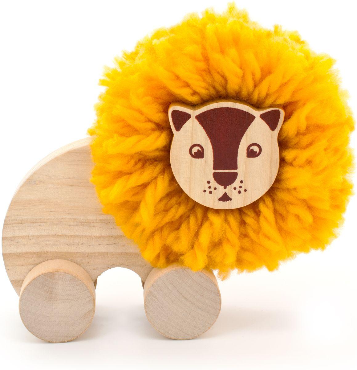Мир деревянных игрушек Игрушка-каталка Помпон Лев игрушка мир деревянных игрушек лабиринт каталка обезьяна д357