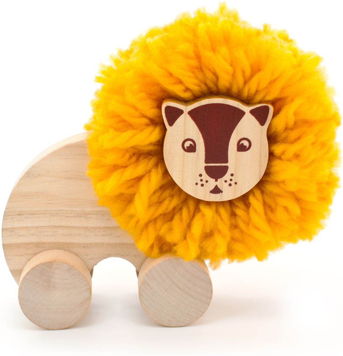 Мир деревянных игрушек Игрушка-каталка Помпон Лев игрушка мир деревянных игрушек куб сафари д373