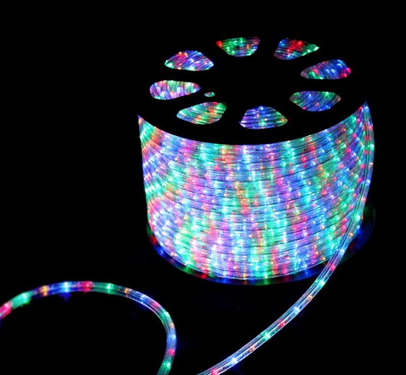 Дюралайт светодиодный  Neon-Night , свечение с динамикой, 3W, диаметр 13 мм, цвет: мульти, бухта 100 м - Гирлянды и светильники