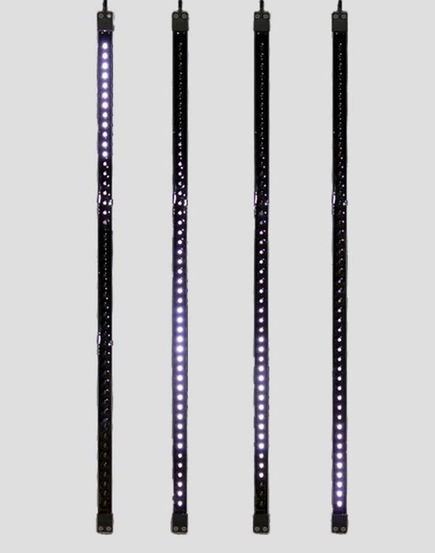 Гирлянда Neon-Night Сосулька, светодиодная, двухсторонняя, 48х2 LED, цвет: черный, белый, 80 см256-127«Светодиодная сосулька» - это оригинальное, красивое и современное средство оформления фасадов и интерьеров зданий, деревьев, витрин и т.д. Она представляет собой прямоугольную трубку длиной 80 см в пластиковом корпусе чёрного цвета. Внутри надежно закреплена двусторонняя тонкая плата со светодиодами и микрочипом, обеспечивающим динамику с эффектом стекающей капли. Гирлянда работает от напряжения 9,5 V и имеет влагозащищённое исполнение, что позволяет безопасно использовать её как в помещении, так и на улице. «Светодиодные сосульки» соединяются в единую цепь с помощью комплектов для подключения - арт. 256-152 (4 шт.) или 256-153 (5 шт) и затем подключаются к бытовой сети через понижающий трансформатор - арт. 256-154. Вы самостоятельно сможете создать красивую световую композицию, соединив между собой несколько таких комплектов. Как и другие светодиодные изделия, «Тающие сосульки» отличаются большим сроком службы (не менее 50000 часов при правильной эксплуатации) и очень низким энергопотреблением. Дополнительным преимуществом наших «Светодиодных сосулек» является то, что при их изготовлении испрользуются японские светодиоды Nichia. Цвет светодиодов - белый. Гирлянда представлена в нескольких цветах.