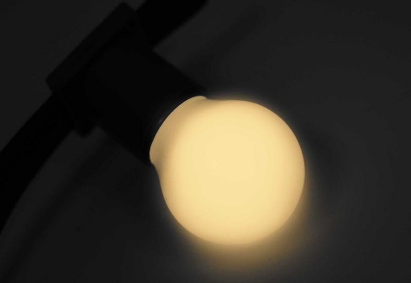 Лампа шар Neon-Night, светодиодная, 3 LED, цоколь Е27, цвет: теплый белый, диаметр 45 мм405-116Декоративные светодиодные лампы используются с гирляндой Belt Light и служат для украшения улиц, фасадов зданий и интерьеров. Колба лампы имеет форму шара диаметром 45мм, что позволяет увеличить площадь свечения и насыщенность светом окружающего пространства. Она выполнена из ударопрочного цветного поликарбоната. Декоративная лампа имеет стандартный цоколь Е27, при помощи которого установка является весьма простой процедурой не занимающей много времени. Суммарная мощность светодиодов составляет всего 1Вт, что позволяет снизить затраты на электроэнергию и подключить гирлянду большей длины. Светодиодные лампы используются с гирляндами Belt Light двух или пятижильными, а при ипользовании специального контроллера можно создать различные динамические световые эффекты.