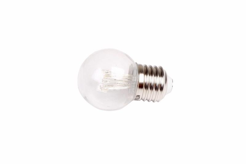Лампа шар Neon-Night, светодиодная, 6 LED, эффект лампы накаливания, цоколь Е27, цвет: красный405-122Декоративные светодиодные лампы используются с гирляндой Belt Light и служат для украшения улиц, фасадов зданий и интерьеров. Колба лампы имеет форму шара диаметром 45мм, что позволяет увеличить площадь свечения и насыщенность светом окружающего пространства. Она выполнена из ударопрочного прозрачного поликарбоната. 6 светодиодов расположены внутри таким образом, что создается впечатление что перед вами лампа накаливания уникального цвета. Декоративная лампа имеет стандартный цоколь Е27, при помощи которого установка является весьма простой процедурой не занимающей много времени. Суммарная мощность светодиодов составляет всего 1Вт, что позволяет снизить затраты на электроэнергию и подключить гирлянду большей длины. Светодиодные лампы используются с гирляндами Belt Light двух или пятижильными, а при ипользовании специального контроллера можно создать различные динамические световые эффекты.