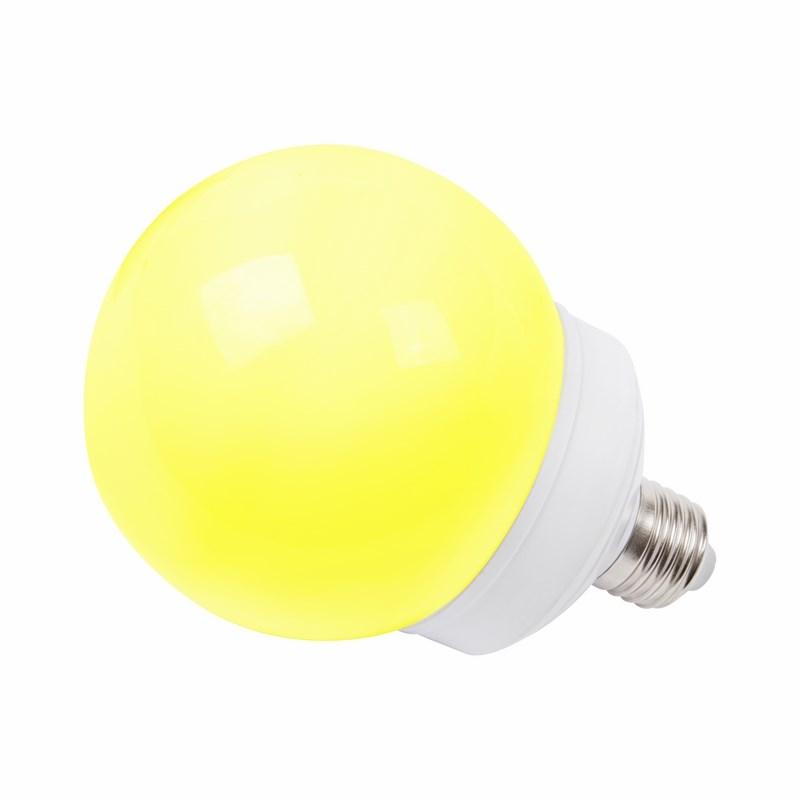 Лампа шар Neon-Night, светодиодная, 12 LED, цоколь Е27, цвет: желтый, диаметр 100 мм405-131Декоративные светодиодные лампы используются с гирляндой Belt Light и служат для украшения улиц, фасадов зданий и интерьеров. Колба лампы имеет форму шара диаметром 100 мм, что позволяет увеличить площадь свечения и насыщенность светом окружающего пространства. Она выполнена из ударопрочного поликарбоната, окрашенного в цвет свечения лампы. Декоративная лампа имеет стандартный цоколь Е27, при помощи которого установка является весьма простой процедурой не занимающей много времени. Суммарная мощность светодиодов составляет всего 2Вт, что позволяет снизить затраты на электроэнергию и подключить гирлянду большей длины. Данная лампа представлена в желтом цвете свечения.