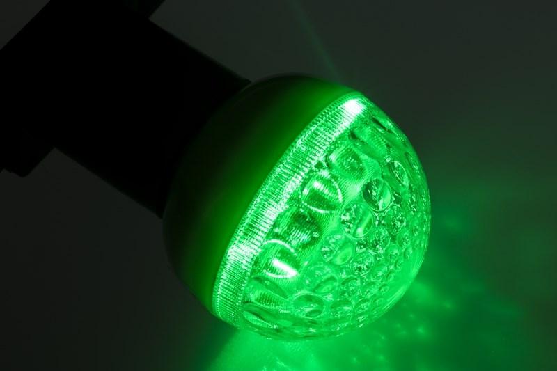 Лампа шар Neon-Night, светодиодная, 9 LED, цоколь Е27, цвет: зеленый, диаметр 50 мм405-214Декоративные светодиодные лампы используются с гирляндой Belt Light и служат для украшения улиц, фасадов зданий и интерьеров. Колба лампы имеет форму шара диаметром 50мм, что позволяет увеличить площадь свечения и насыщенность светом окружающего пространства. Она выполнена из ударопрочного поликарбоната. Декоративная лампа имеет стандартный цоколь Е27, при помощи которого установка является весьма простой процедурой не занимающей много времени. Суммарная мощность светодиодов составляет всего 3Вт, что позволяет снизить затраты на электроэнергию и подключить гирлянду большей длины. Светодиодные лампы используются с гирляндами Belt Light двух или пятижильными, а при ипользовании специального контроллера можно создать различные динамические световые эффекты.
