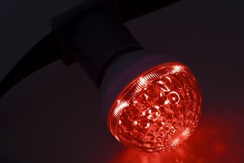 Лампа шар Neon-Night, светодиодная, 10 LED, цоколь Е27, цвет: красный, 24В, диаметр 50 мм405-612Декоративные светодиодные лампы используются с гирляндой Belt Light и служат для украшения улиц, фасадов зданий и интерьеров. Колба лампы имеет форму шара диаметром 50мм, что позволяет увеличить площадь свечения и насыщенность светом окружающего пространства. Она выполнена из ударопрочного поликарбоната. Декоративная лампа имеет стандартный цоколь Е27, при помощи которого установка является весьма простой процедурой не занимающей много времени. Суммарная мощность светодиодов составляет всего 1Вт, что позволяет снизить затраты на электроэнергию и подключить гирлянду большей длины. Светодиодные лампы используются с гирляндами Belt Light двух или пятижильными, а при ипользовании специального контроллера можно создать различные динамические световые эффекты.