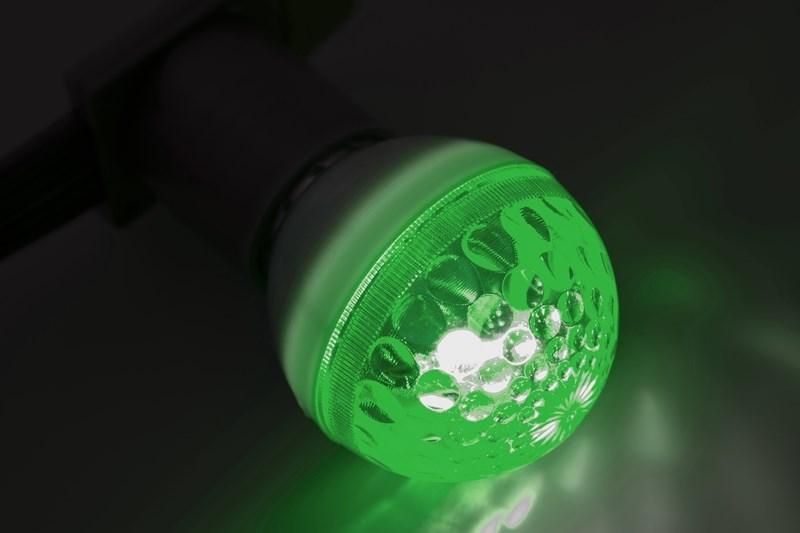 Строб-лампа Neon-Night, цоколь Е27, цвет: зеленый, диаметр 50 мм411-124Строб-лампы пользуются большой популярностью в декоративной осветительной рекламе. Яркие вспышки хорошо привлекают внимание, как на больших, так и на малых расстояниях. Стандартный цоколь Е27 позволяет устанавливать лампы буквально за несколько секунд. Строб гораздо сильнее и быстрее привлекает внимание, чем другие источники света и применяют его чаще всего в развлекательных целях. Грамотное использование таких ламп может сделать любую наружную рекламу очень эффектной.